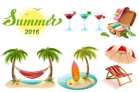 Summer 2016 lettering text. Set of objects symbol of summer vacation. Illustration in vector format