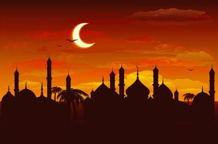 月亮在夜空在清真寺。赖买丹月Kareem背景。以传染媒介格式的例证