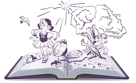 Tale of Little Red Riding Hood et le loup gris. Ouvrir la fantaisie du livre. Illustration en format vectoriel Banque d'images - 58321901