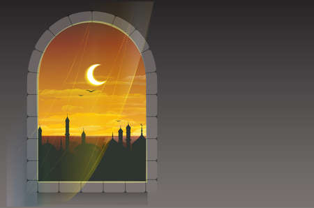 minarets: Month of Ramadan. Moon over minarets. Template greeting card. Illustration in vector format