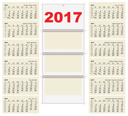 january 1st: Template grid Wall Calendar 2017. First Day Monday. Illustration in vector format