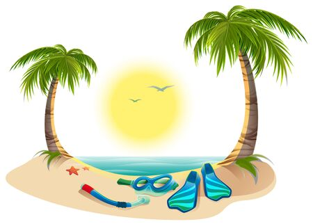 island beach: Summer holidays at sea. Palm trees, sun, flippers and mask for diving. Cartoon illustration in vector format