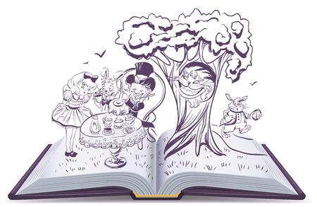 Alice in Wonderland. Meisje en konijn drinkt thee. Open boek vector illustratie