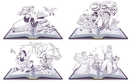 caperucita roja: Conjunto de cuento de hadas libro abierto. Ilustración en formato vectorial Vectores