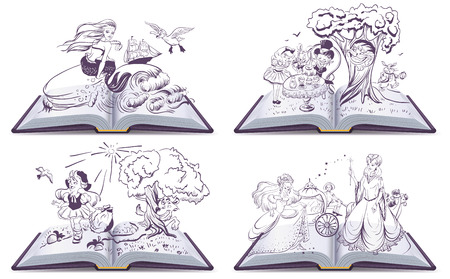 Set open book fairy tale. Illustration in vector format