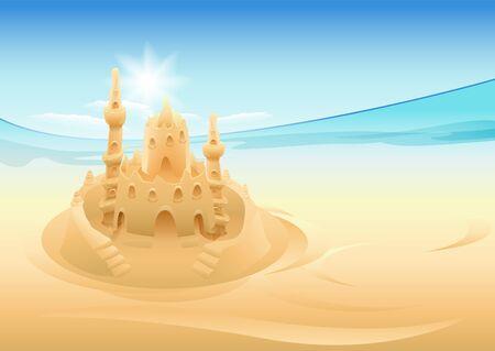 sand castle: Sand castle. Summer holidays at sea. Illustration in vector format