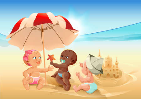 baby playing toy: Three baby playing on beach. Cartoon illustration in vector format Illustration