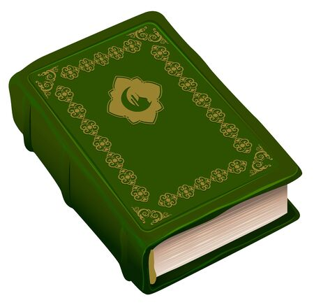 namaz: Green book Koran. Symbol of religion Islam. Isolated on white vector illustration Illustration