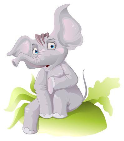 ears: Funny African elephant with big ears. Vector cartoon illustration Illustration