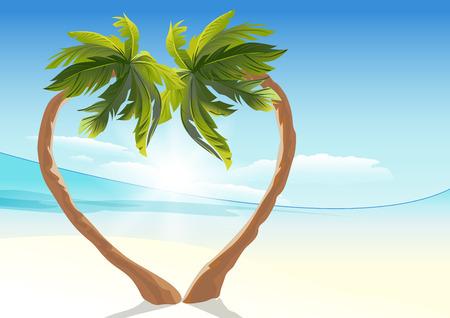 2 熱帯ヤシは、ハートの形に湾曲しました。愛の心のシンボルです。ベクトル形式のイラスト