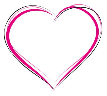 Símbolo del corazón del amor. Signo de esquema del corazón. Ilustración en formato vectorial