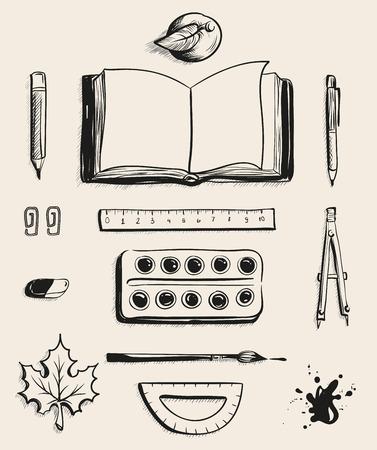 Set School office supplies top view. Open book, apple, pen, watercolor paints, eraser, maple leaf, compass, blot, protractor, ruler, ballpoint pen and brush. Illustration in vector format