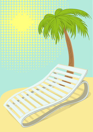 daybed: Sunbed under palm tree on tropical beach. Retro cartoon illustration