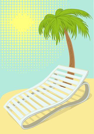 longue: Sunbed under palm tree on tropical beach. Retro cartoon illustration