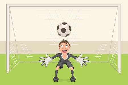 goal kick: Goalkeeper catches soccer ball. Penalty kick in soccer. Football goal. Vector cartoon illustration