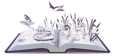 bulrush: Open book tale Thumbelina. Vector cartoon illustration