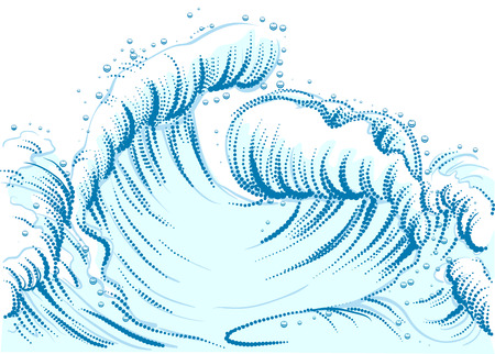 high sea: Blue wave with foam cap. High sea wave. Illustration in vector format Illustration
