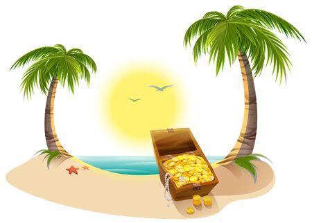Pirate Treasure Chest on tropical island. Vector cartoon illustration