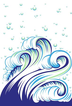 high sea: Blue high sea wave with bubbles. Vector illustration Illustration