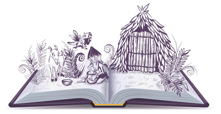 Robinson Crusoe on desert island. Open book adventure. Cartoon illustration