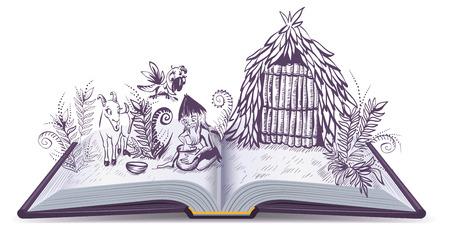 Robinson Crusoe op onbewoond eiland. Open boek avontuur. illustratie van het beeldverhaal