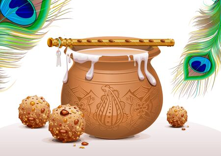 yoghurt: Holiday Symbols Krishna Janmashtami. Pot of yoghurt, peacock feather, flute and sweets. Vector illustration