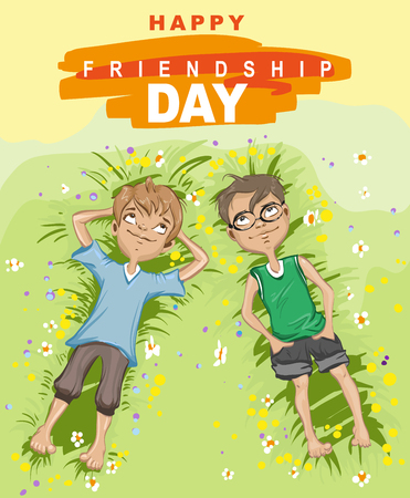 Happy friendship day. Two boy lying on green grass and looking up. Vector illustration for greeting card