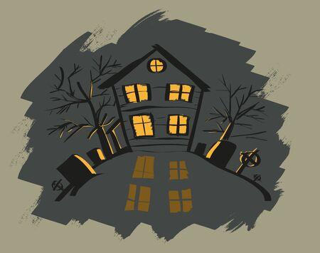 orange light: Dark halloween house. Orange light in windows. Vector cartoon illustration