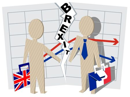 severance: Britain and France Brexit. Severance of relations in business. Illustration in vector format