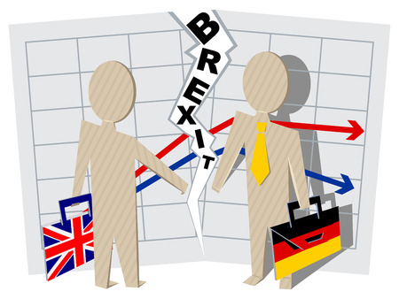 severance: Britain and Germany Brexit. Severance of relations in business. Illustration in vector format