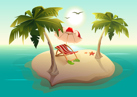 lounger: Tropical island in sea. Palm trees, sand, sun lounger and parasol. Illustration in vector format Illustration
