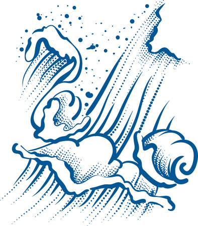 windstorm: High sea wave with foam and spray. Illustration in vector format