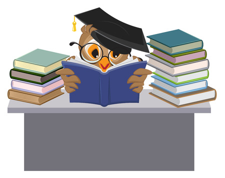 teacher and student: Owl in mortarboard reading book. Vector cartoon illustration Illustration