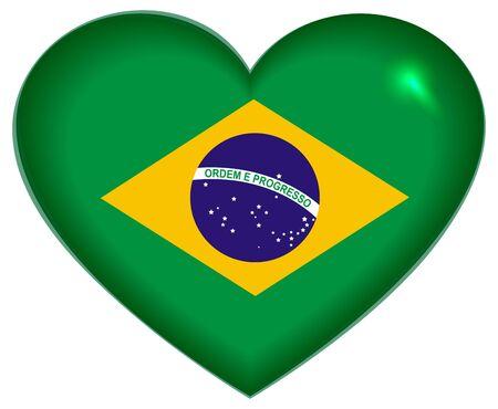 brazilian: Heart shape Brazilian flag. Isolated on white vector illustration
