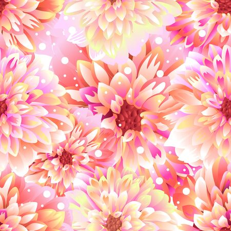 Seamless floral background Dahlia. Illustration in vector format 일러스트
