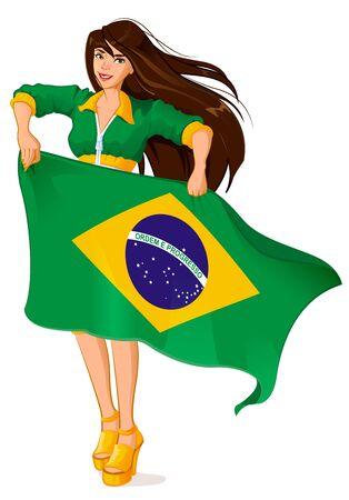brazilian flag: Beautiful woman fan holding Brazilian flag. Isolated on white vector illustration