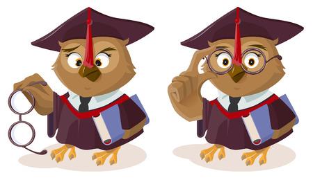 Owl teacher with book and poor eyesight. Isolated on white vector cartoon illustration Illustration