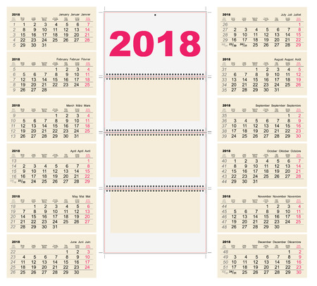 january 1st: Template grid Wall Calendar 2018. First Day Monday. Illustration in vector format