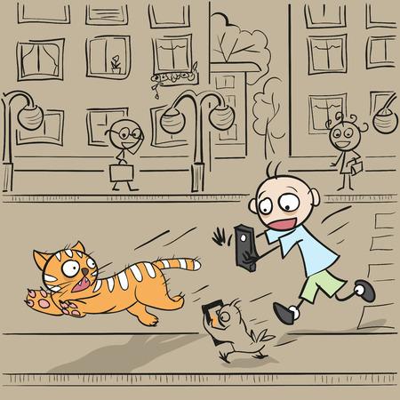 boy at phone: Boy with phone running for cat. Fun vector cartoon illustration Illustration