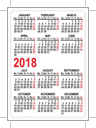 Grid pocket calendar 2018. Illustration in vector format Illustration