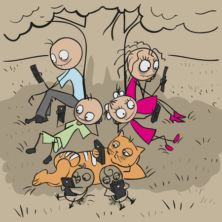 big family: Big family under tree. Everyone looks at phone. Vector cartoon illustration Illustration