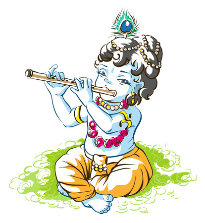 krishna: God Krishna Janmashtami. Boy shepherd playing flute. Vector cartoon illustration