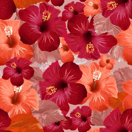 pistil: Red hibiscus flower. Seamless floral background. Vector illustration