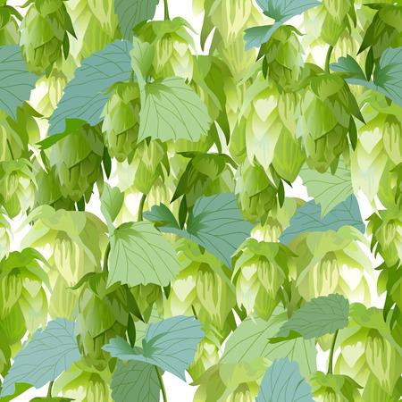 vegetative: Hops leaves seamless background. Illustration in vector format Illustration