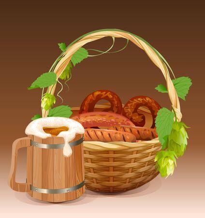 Wooden beer mug. Wicker basket with pretzels and grilled sausages. Illustration in vector format Illustration