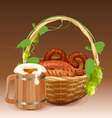 frothy: Wooden beer mug. Wicker basket with pretzels and grilled sausages. Illustration in vector format Illustration