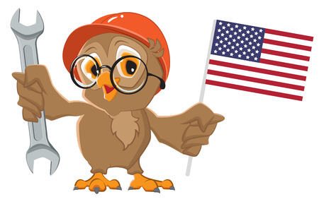 Labor Day USA. Owl holding wrench and American flag. Isolated on white vector cartoon illustration