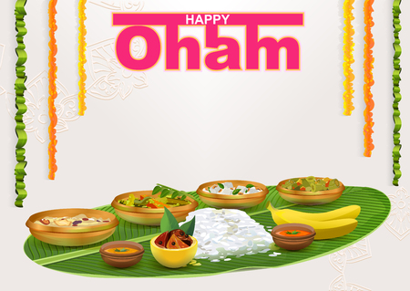 malayalam: Happy Onam. Food for hindu festival in Kerala. Template vector illustration for greeting card