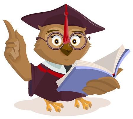 Owl teacher reading book. Isolated on white vector cartoon illustration Illustration