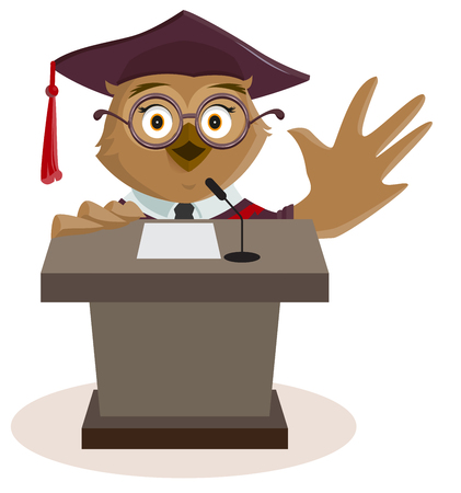 said: Owl professor said from podium. Isolated on white vector cartoon illustration